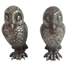 Tiffany & Co. Sterling Figural Owl Salt and Pepper Shakers