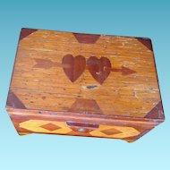 Folk Art Handmade Sweetheart Matchstick Box