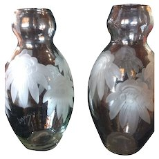 Large Pair Signed Legras French Cameo, Crystal, Cut Art Deco Vases