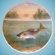 Hand Painted George Jones Crescent Fish Plate