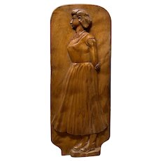 Solid Maple Folk Art Carving of 1920s Era Woman