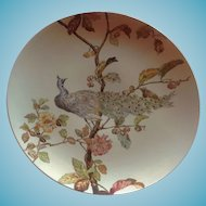 Antique Limoges Hand Painted Faience Peacock Charger