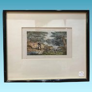 Framed 1850 Print Trout Fishing