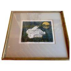 Margery Niblock Woodblock Print, Rabbits