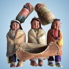 Set of Vintage Skookum (Bully Good) Indian Dolls and a Birch Canoe