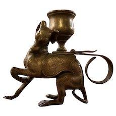 Bronze Greyhound Dog Candlestick