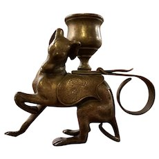 Bronze Greyhound Dog Candlestick