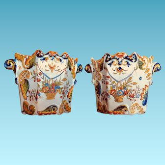 Pair of Hand Painted Vintage French Rouen Cachepots or Flower Pots