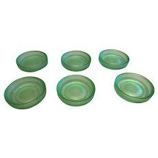 Set of 6 Vintage Frigidaire Milk Bottle Covers of Uranium or Vaseline Glass
