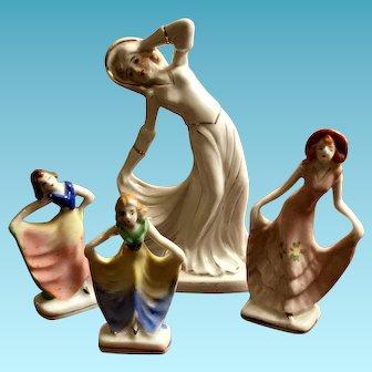 Set of 4 Vintage Art Deco Style Dancing Ladies Figurines