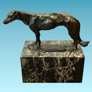 French Art Deco Bronze Borzoi / Hound Sculpture Signed.