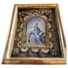 Framed French Saint Relics in a Shadowbox