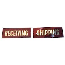 Pair of Red Metal Schmaltz Signs Shipping Receiving