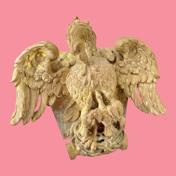 19th Century or earlier Carving of a Pelican and three chicks.