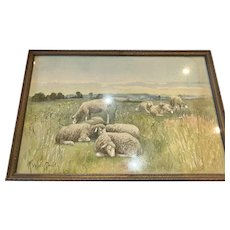 Rufus Way Smith Pastoral Sheep Watercolor Painting