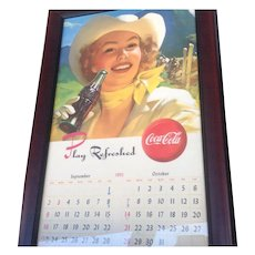 Coca-Cola Cowboy Advertising Framed Calendar 1951