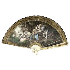"""**CLOSE OUT SALE!** Victorian Antique Celluloid Dance Hand Fan Boudoir FRANCE 1890-1910 Lithograph Colonial People Music Party Dancing Brown Sable Color Delicate Vanity 6.25"""" long x 11"""" wide **Lowest Price **STORE CLOSING SOON**"""