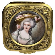 Antique FRENCH Gilded Gold Bronze Jewelry Trinket Box with Exquisite Miniature Painting of Lady  BEAUTIFUL!  Hand Painted Woman Louis XVI   3.5oz