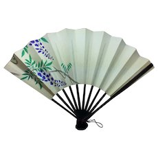 """Antique Miniature French Fashion Doll Fan    Asian Lilac Purple Flower Designs    Hand Painted   BEAUTIFUL!  3.75"""" long x 5.5"""" wide"""