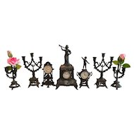 FREE SHIPPING! Antique Lot of 7 Soft Metal Doll Items for French Fashion Doll or Large Dollhouse    Miniature Figural Fancy Clocks Candelabras Candle Holders Flowers     France and Germany  1880's - 1910