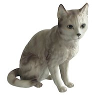 "FREE SHIPPING! Vintage Ceramic Grey Kitty CAT Figurine  REALISTIC DETAILS!  This Cat looks like it is ignoring me! Ha!   Japan Label   4.8"" tall  Small Statue"
