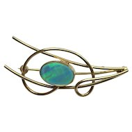 """9k GOLD and Large OPAL Stone Vintage Ladies Brooch Pin  4.85g  Artistic Design  9ct Stamp BEAUTIFUL   2"""" long"""