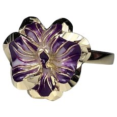 14k Gold Enamel Purple Orchid Flower Ring  ITALY  Yellow Gold   SIZE 7  Excellent Condition!