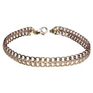 """14k ROSE GOLD Bracelet Ladies Chain Link Slightly Domed   7.15"""" long  and  7mm wide  and  3.51 grams"""