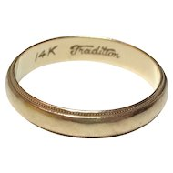 Solid 14k Yellow GOLD Milgrain Wedding Band Ring Tradition  SIZE 6.25  WIDTH 4mm  Unisex Ladies or Mens