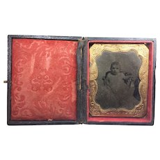 FREE SHIPPING! Antique Victorian Baby Antique Daguerreotype Photo in Leather Case Authentic