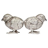 FREE SHIPPING! WOW! Vintage 800 SILVER Novelty Figural Set of Chick  Bird Salt & Pepper Pot Shakers   3.91 Troy oz!