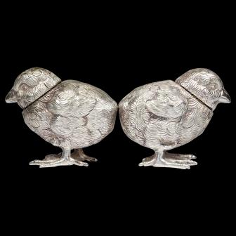Vintage 800 SILVER Novelty Figural Set of Chick  Bird Salt & Pepper Pot Shakers   3.91 Troy oz!