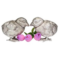 **CLOSE OUT SALE!** 3.91 Troy oz ! 800 SILVER Novelty Figural Set of Chick Bird Salt & Pepper Pot Shakers Vintage **Lowest Price **STORE CLOSING SOON**