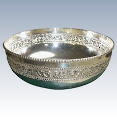 """Vintage Beautiful 900 Solid SILVER Indian Fruit Bowl  Large Bowl  Floral Designs   10.28 Troy Oz!   8"""" Wide x 3"""" Deep   with Green Presentation Box"""