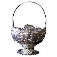 Cherub Bird Floral Hanau Rococo Silver Basket with handle  800 SILVER  George Roth German Pseudo Antique Mark   4.37 Troy oz!