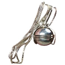 """Heavy Sterling Silver 925 Necklace    Ball Locket Pendant with 30"""" Thick box Chain    27.98grams    for 6 miniature Photos! Wow!"""