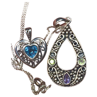 """Sterling Silver 18.75"""" Necklace with 2 Pendants         India Purple with Green Gemstone Teardrop and Light Blue Stone Heart Scroll    925"""