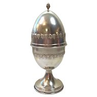 """EASTER EGG 6.9oz  STERLING SILVER Large Antique Box     8.5"""" tall    Beautiful design of Grapes and Leaves! Stunning and Fancy! LOWEST PRICE!!!"""
