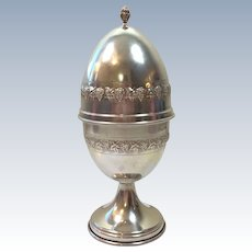 """6.9oz  Antique Large STERLING SILVER Egg Box     8.5"""" tall    Beautiful design of Grapes and Leaves! Stunning and Fancy!"""