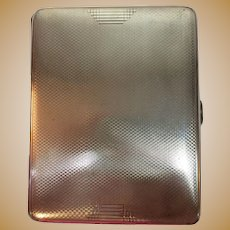 "Vintage Heavy STERLING SILVER 5.7oz Cigarette Case 1936  Birmingham England Hallmarks  4.25""x3.3"" Engine Turned  Great for photos, large cards, small notepad, and paper trinkets"