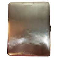 "FREE SHIPPING! WOW! Vintage Heavy STERLING SILVER 5.7oz Cigarette Case 1936  Birmingham England Hallmarks  4.25""x3.3"" Engine Turned  Great for photos, large cards, small notepad, and paper trinkets"
