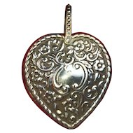 FREE SHIPPING! RARE Authentic Victorian 1896 STERLING SILVER HEART Pin Cushion for Chatelaine  Flower Repousse  RED Pincushion  ANTIQUE Birmingham England  WOW!