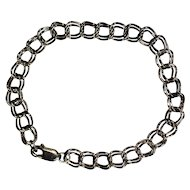 """Solid STERLING SILVER Charm Bracelet  7.2""""  Double Flat Chain   6.65 grams    925   Pretty!"""