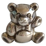 FREE SHIPPING! Vintage Figural Sterling Silver Miniature Teddy Bear with Bow Tooth Fairy Box by Douglas Pell UK with Tiny English Sterling Hallmarks