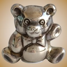 Vintage Figural STERLING SILVER Miniature Teddy Bear with Bow Tooth Fairy Box by Douglas Pell UK with Tiny English Sterling Hallmarks