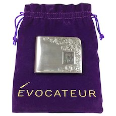 CLOSE OUT SALE! Heavy STERLING SILVER Compact 4.6oz Elgin American Engraved Swirl Design Vintage Ladies Vanity Purse Powder Box + Purple Evocateur Bag FREE SHIPPING!