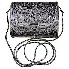 12oz! Solid STERLING SILVER Purse Handbag Repousse Floral Vintage Ladies Womens Shoulder or Crossbody Evening Bag or Clutch Stamped 925 for Wedding Holiday Tea Party Fancy Dinner!