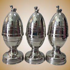 Scrap Cost AS IS = Set of 3 STERLING SILVER Egg Cups with Chicken Chick Baby Bird and Duck tops  925 = 7.2oz = Lovely for Easter! CUP CODE = AD