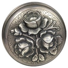 833 SILVER Portugual Vintage Covered Trinket Jewelry Box Repousse Roses Flowers with Gilt Gold Interior Large Snuff or Pill Box Portuguese   3 inches in diameter  and 64.22 grams
