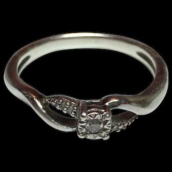Beautiful GENUINE DIAMOND Sterling Silver Promise Ring   Size 8.5      Sun 925     Kay Jewelers  ORIGINAL RETAIL PRICE $149